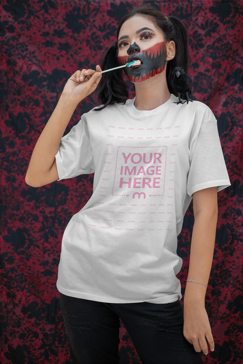 Scary Themed Shirt Mockup With a Woman Licking Her Candy
