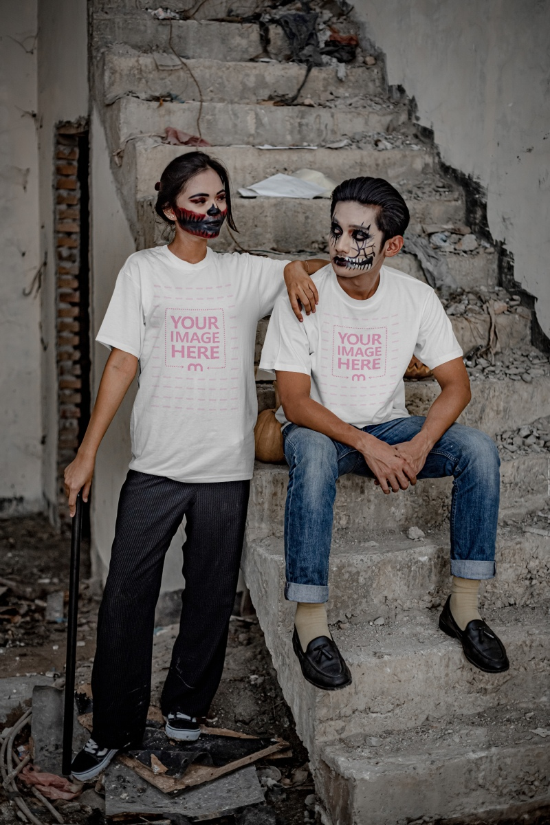 Scary Themed Mockup of a Shirt With Two People Looking at Each Other
