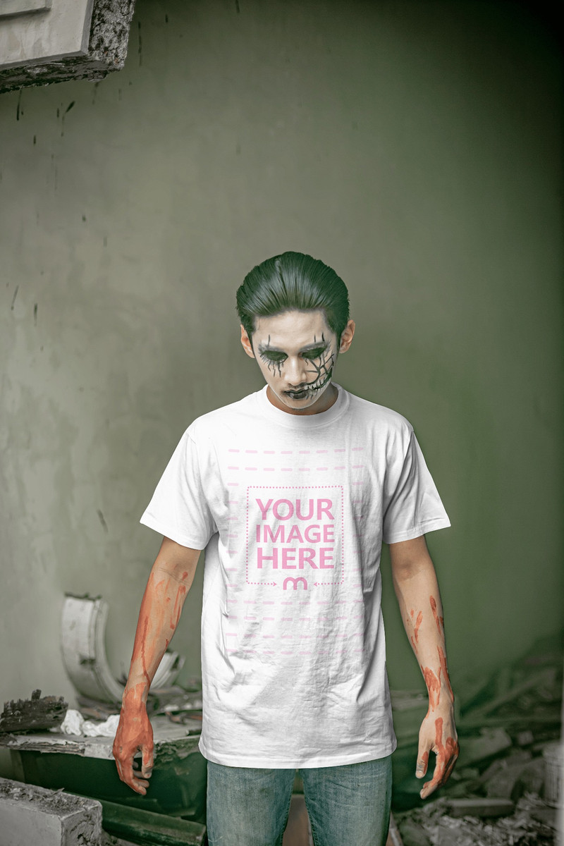 Horror Themed Shirt Mockup Featuring a Depressed Man Looking Below