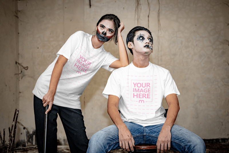 Mockup of a Shirt Featuring Two Scary Looking People Posing to the Camera
